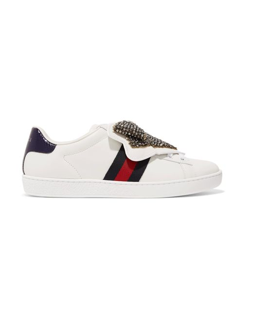 Gucci - White Ace Crystal-embellished Watersnake-trimmed Leather Sneakers - Lyst