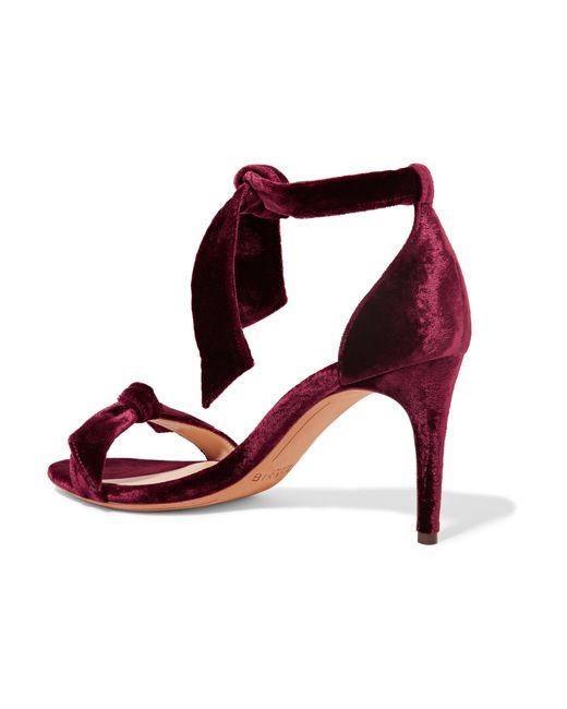 3e88da90d38 Alexandre birman Clarita Bow-embellished Velvet Sandals in Red