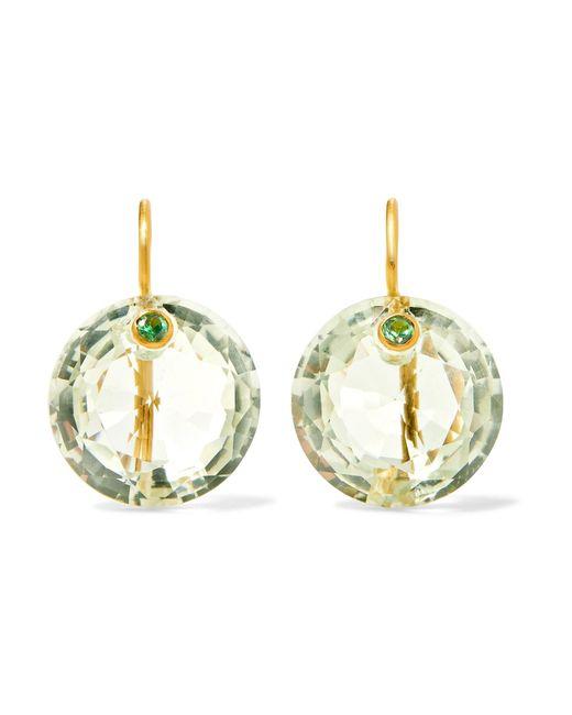 Marie-hélène De Taillac | Metallic 18-karat Gold, Quartz And Aquamarine Earrings | Lyst