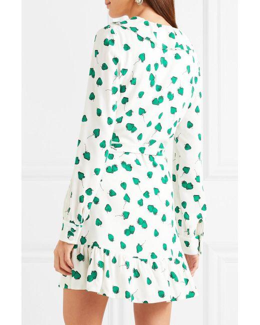 Ruffled Printed Georgette Wrap Mini Dress - White Miu Miu mY1TfBym4