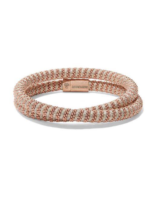 Carolina Bucci | Metallic Twister 18-karat Rose Gold-plated And Silk Bracelet | Lyst