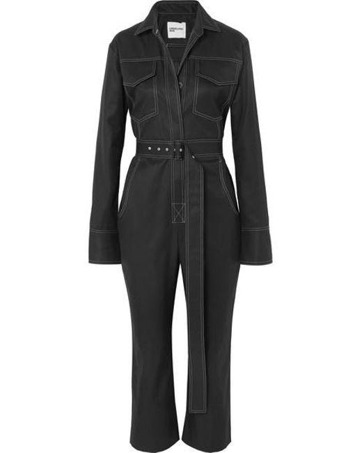 Orseund Iris - Black Workwear Belted Cotton-gabardine Jumpsuit - Lyst