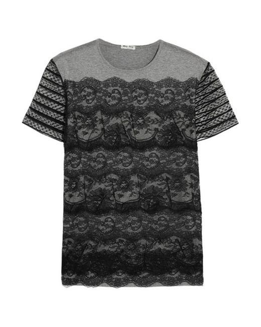 Miu miu lace and cotton jersey t shirt in grey lyst for Miu miu t shirt