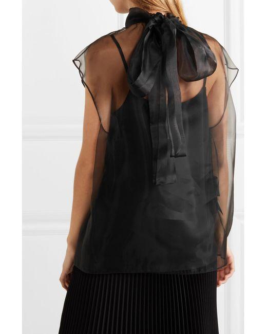 f393edbc461be7 ... Prada - Black Pussy-bow Silk-organza Blouse - Lyst ...