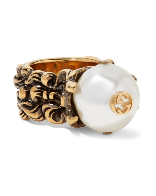 Gucci | Metallic Burnished Gold-tone Faux Pearl Ring | Lyst