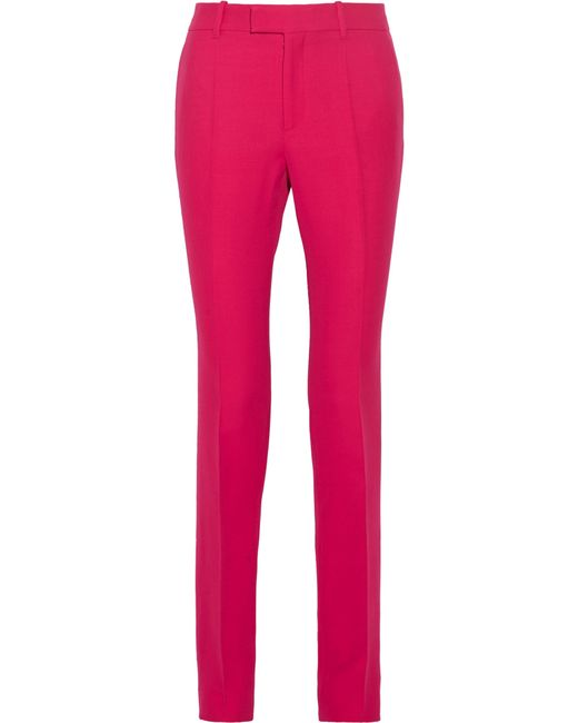 Gucci | Pink Wool And Silk-blend Crepe Straight-leg Pants | Lyst
