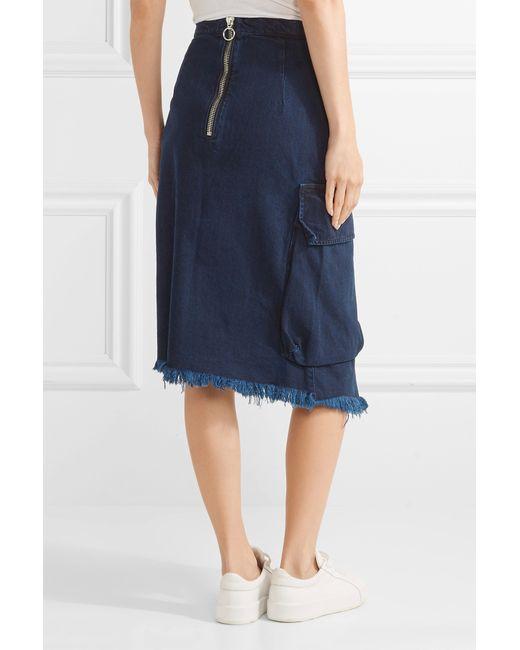 marques almeida asymmetric frayed wrap effect denim skirt