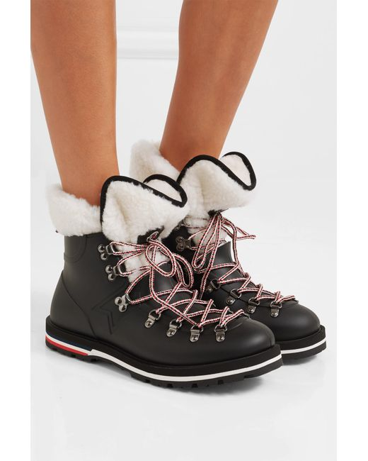 e416d6e7c2b6 Lyst - Moncler Inaya Shearling-trimmed Rubber Ankle Boots in Black