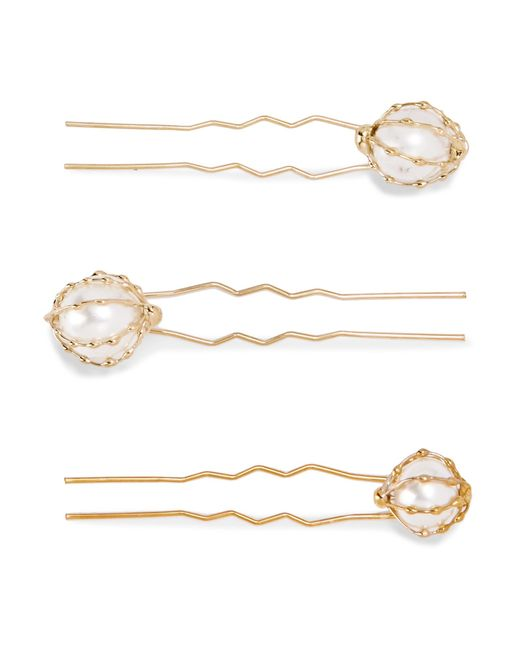 Rosantica - Metallic Set Of Three Gold-tone Faux Pearl Hair Pins Gold One Size - Lyst