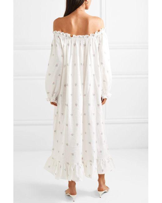 120852ca0e8 ... Sleeper - White Off-the-shoulder Floral-print Linen Midi Dress - Lyst  ...