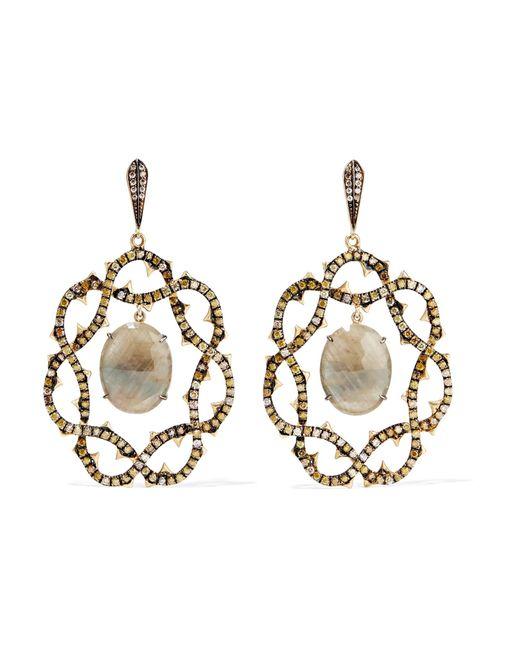 Loree Rodkin   Metallic 18-karat Gold, Sapphire And Diamond Earrings   Lyst