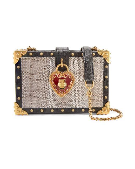 Dolce & Gabbana - Multicolor Sac Porté épaule En Serpent D'eau Et En Cuir Texturé à Ornements Box - Lyst