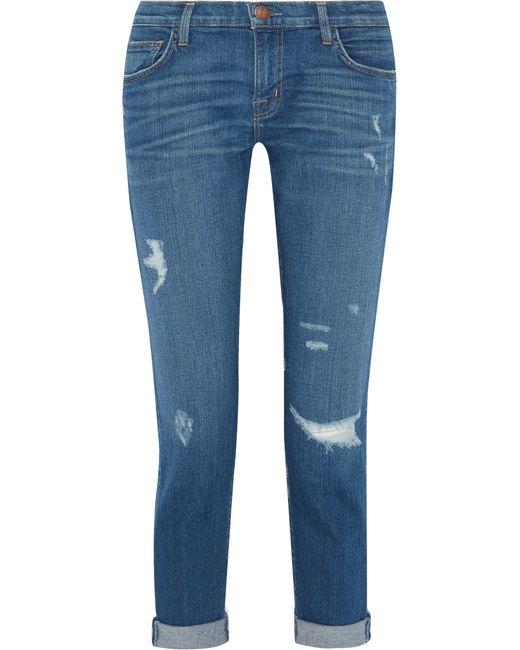 Current/Elliott | Blue The Fling Distressed Slim Boyfriend Jeans | Lyst