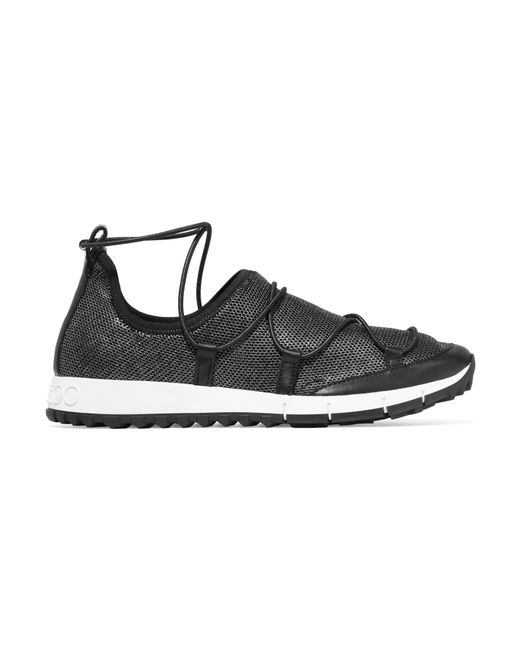 Jimmy Choo | Black Andrea Leather-trimmed Metallic Mesh Slip-on Sneakers | Lyst