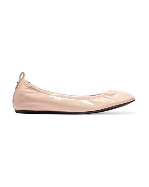 Lanvin | Pink Patent-leather Ballet Flats | Lyst