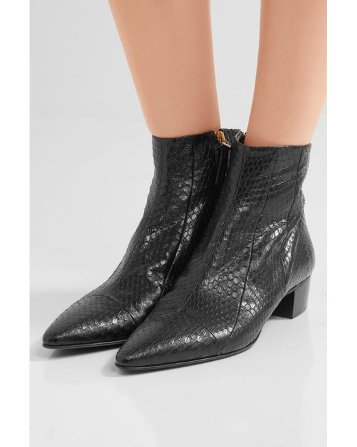 The Row Ambra Snakeskin Ankle Boots In Black Lyst