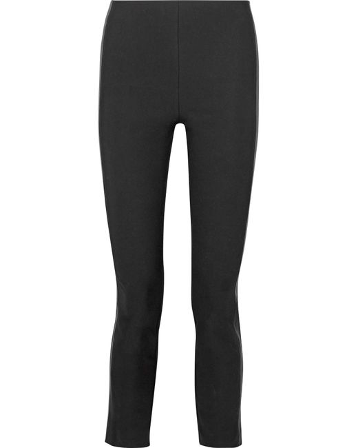 Rag & Bone | Black Dani Leather-paneled Stretch Cotton-blend Skinny Pants | Lyst