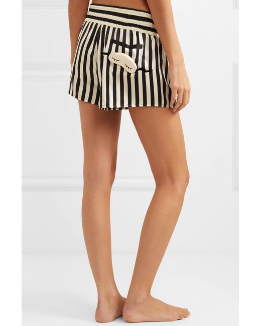 ... Morgan Lane - Black + Amanda Fatherazi Corey Appliquéd Striped Silk-charmeuse  Pajama Shorts ... 0e2645505