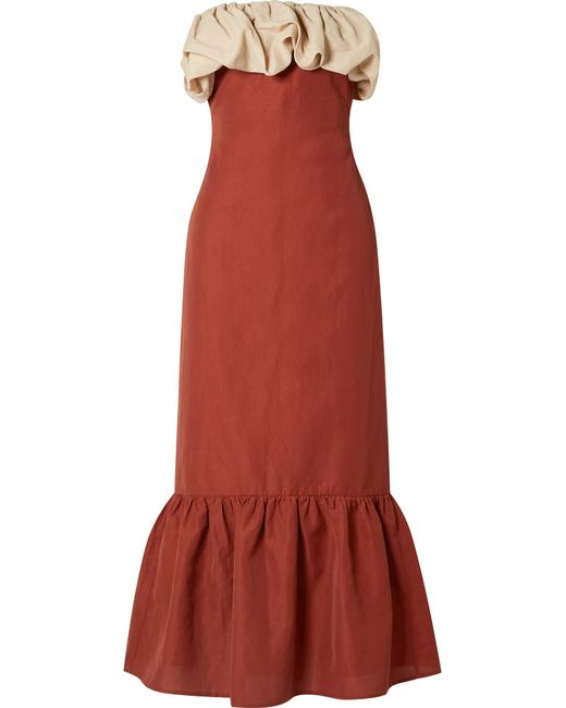 Rejina Pyo - Red Allegra Strapless Ruffle-trimmed Canvas Maxi Dress - Lyst