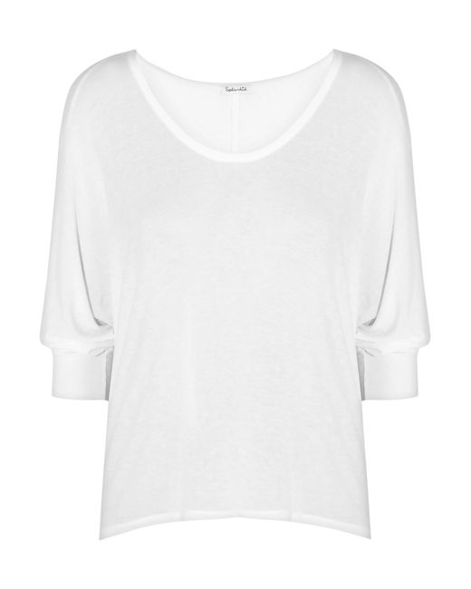 Splendid | White Draped Stretch-jersey Top | Lyst