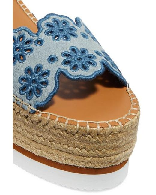 63b24e75b ... See By Chloé - Blue Embroidered Laser-cut Suede And Leather Espadrille  Wedge Sandals -