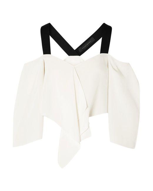 Roland Mouret | White Knit-trimmed Silk Crepe De Chine Cold-shoulder Top | Lyst