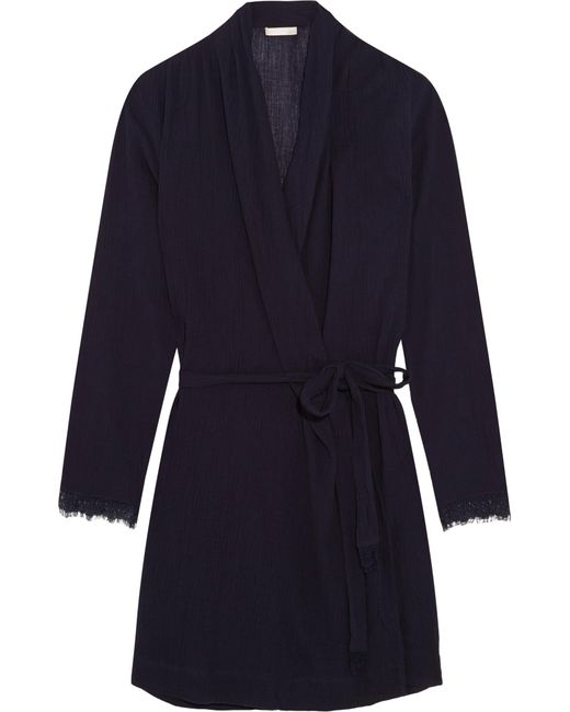 Skin | Blue Lace-trimmed Cotton-gauze Robe | Lyst
