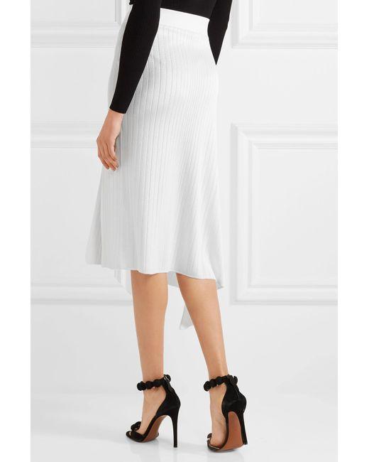 cushnie et ochs asymmetric ribbed knit midi skirt in white
