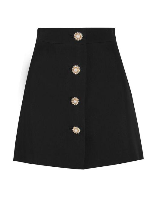 Miu Miu | Black Embellished Cady Mini Skirt | Lyst
