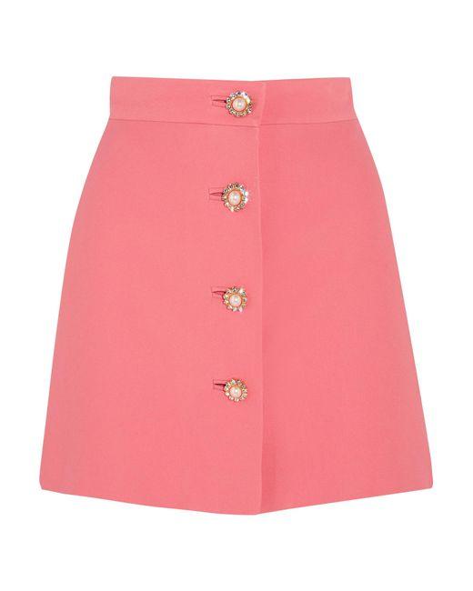 Miu Miu | Pink Embellished Cady Mini Skirt | Lyst