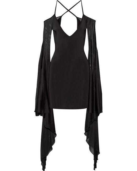Balmain | Black Open-back Ruffled Stretch-knit Mini Dress | Lyst