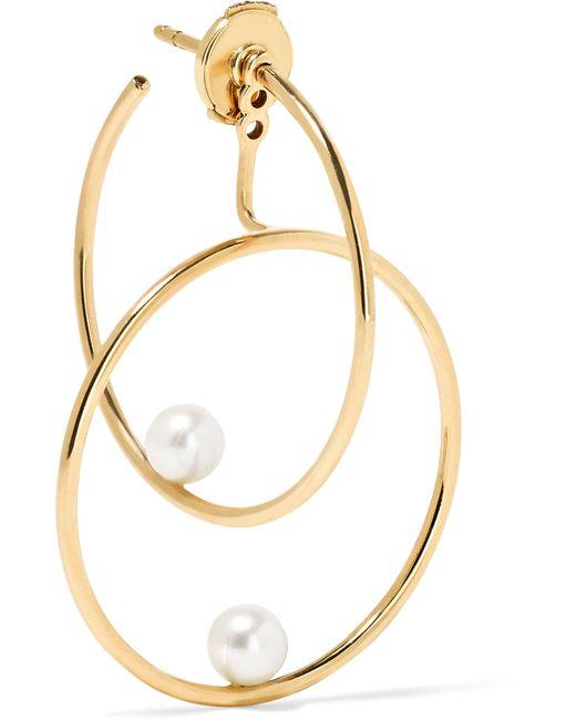 Anissa Kermiche | Metallic 14-karat Gold Pearl Hoop Earring | Lyst