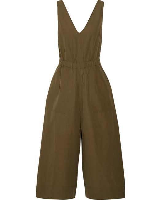 Ulla Johnson | Green Zoe Cropped Cotton And Linen-blend Twill Jumpsuit | Lyst