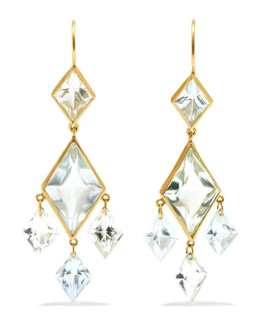 Marie-hélène De Taillac - Metallic 22-karat Gold, Quartz And Aquamarine Earrings - Lyst