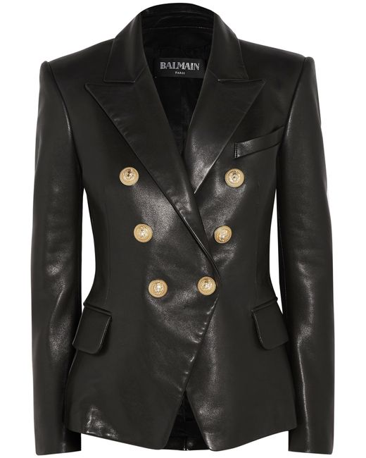 Balmain | Black Double-breasted Leather Blazer | Lyst