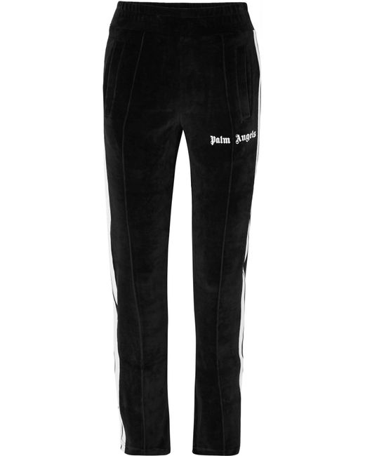 Palm Angels - Black Striped Cotton-blend Velour Track Pants - Lyst