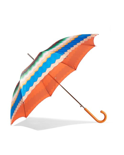 Missoni | Blue Leather-trimmed Printed Umbrella | Lyst