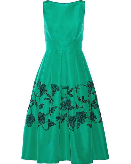 Lela Rose | Green Embellished Laser-cut Silk-faille Dress | Lyst