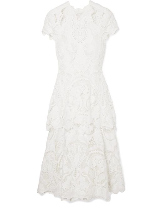 Jonathan Simkhai - White Guipure Lace Midi Dress - Lyst