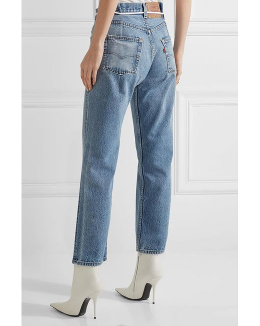 Off-white c/o virgil abloh Distressed Cropped Boyfriend Jeans in ...