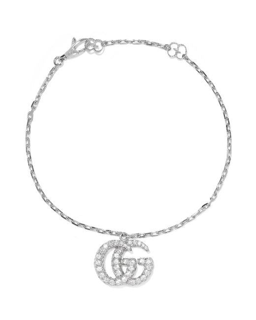 Gucci - Multicolor 18-karat White Gold Diamond Bracelet - Lyst