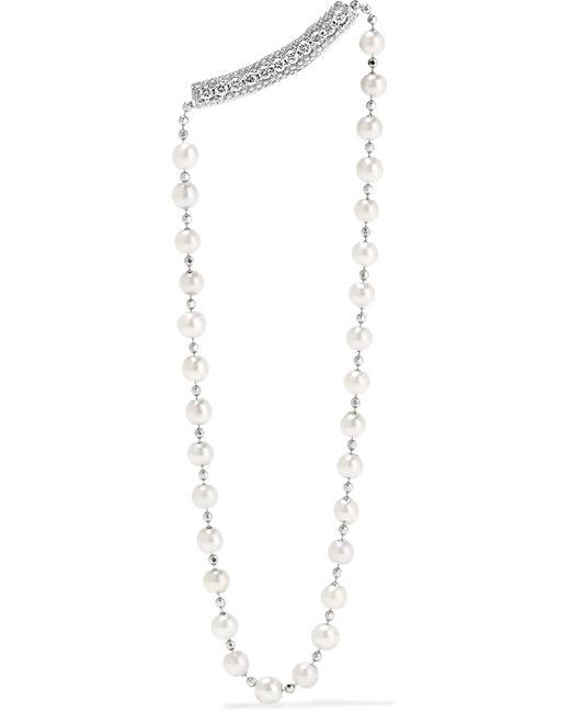 Yvonne Léon | 18-karat White Gold, Diamond And Freshwater Pearl Earring | Lyst