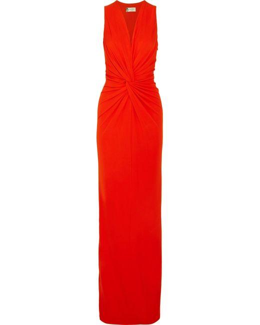 Lanvin   Red Twist-front Jersey Gown   Lyst