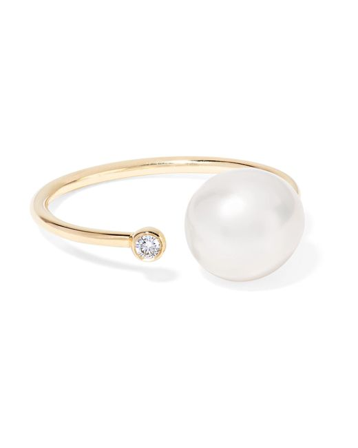 Mizuki - Metallic 14-karat Gold, Pearl And Diamond Ring - Lyst