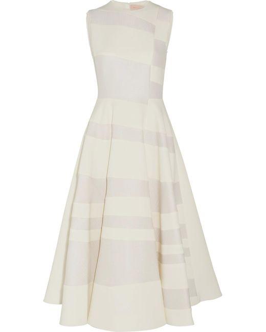 Roksanda   White Tatum Paneled Cady And Hammered-crepe Midi Dress   Lyst
