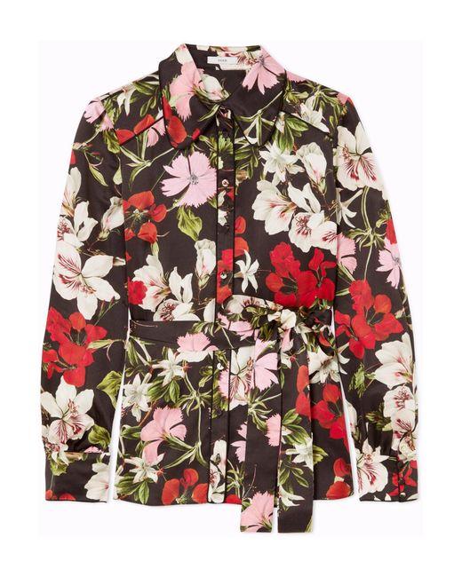 Erdem - Black Xen Floral-print Silk-satin Blouse - Lyst