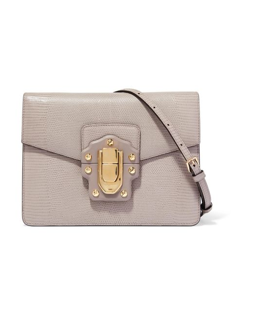 Dolce & Gabbana   Gray Lucia Lizard-effect Leather Shoulder Bag   Lyst