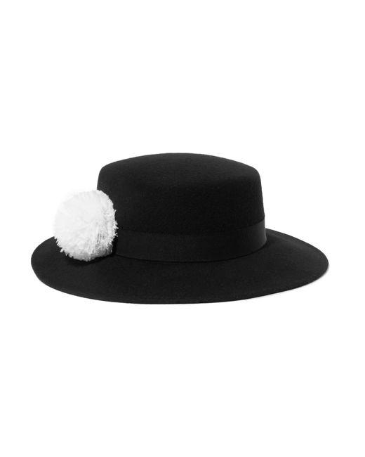 Eugenia Kim | Black Brigitte Feather-trimmed Wool-felt Hat | Lyst