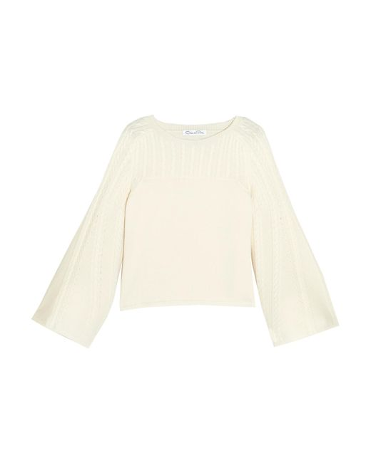 Oscar de la Renta | White Pointelle-trimmed Cable-knit Wool Sweater | Lyst