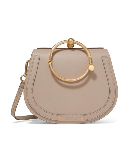 Chloé | Gray Nile Bracelet Medium Textured-leather And Suede Shoulder Bag | Lyst